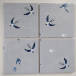 4 Ceramic Coasters in Sophie Allport Swallows